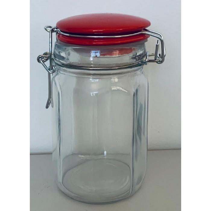 Pot à épices en Verre - Couvercle rouge Vintage