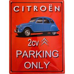 Citroën 2 CV Bleue - Parking Only Fond Rouge