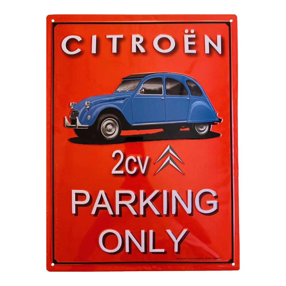 Citroën 2 CV Bleue - Parking Only Fond Rouge