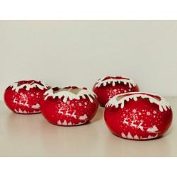 Bougies de Noël - Photophores rouge et blanc