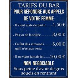 Tarifs du Bar - Répondre à Votre Femme
