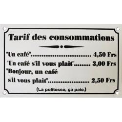 Tarif des Consommations bar