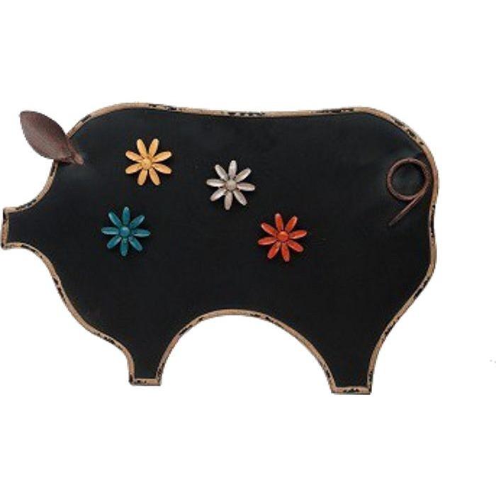 Tableau noir Cochon - Magnets fleurs